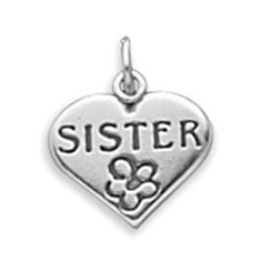 Sterling Silver SISTER in Heart Charm