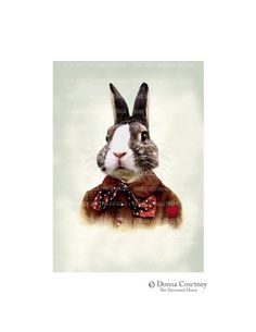 BEAU BUNNY RABBIT.  Animal Portrait. He Wore His Heart on His Sleeve by The Decorated House . 5 x 7. $9.00, via Etsy.