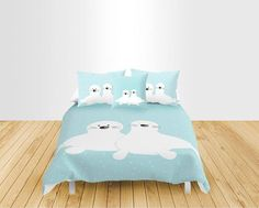 White Baby seal Duvet cover Personalized Nautical Bedding Fish