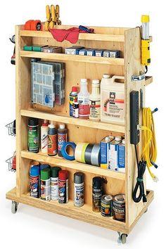 Rolling garage cart with shelves, hooks,