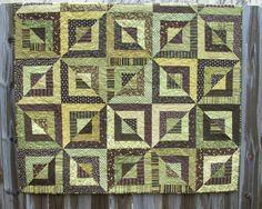Beveled Blocks Quilt Green Brown Handmade Ready by atthebrightspot
