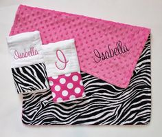 PERSONALIZED Baby Girl Zebra Stroller Blanket Plus 2 Personalized Burp Cloths on Etsy, $40.00