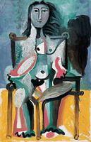 Пабло Пикассо. Обнаженная, сидящая в кресле I, 1963 год