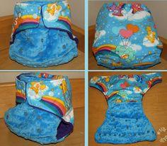 Handmade Retro Care Bear & Dimple Minky Birth To Potty Pocket Nappy.