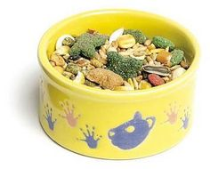 "Petware Food Dish Hamster 3pcs, Super Pet - Paw-Print Petware is the perfect fancy feeder for your pet hamster or gerbil. This fun and fashionable bowl is decorated with actual paw prints and face silhouettes of a hamster. These ceramic dishes are twice baked making them the highest quality feeder for your pet, plus they are heavy-duty to prevent overturns. Paw-Print Petware is available in four fantastic color combinations."" 3"" Round"