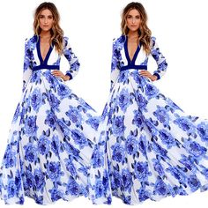 Plus Size Women Sexy Summer Dress Maxi Long Evening Party Chiffon Dress Sundress #Unbranded #Maxi #Cocktail