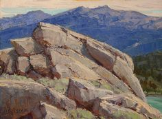 """Rocks Above the Lake"", 9x12"", oil ©'15 Jean LeGassick"