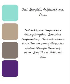 Teal, starfish, driftwood and plum color palette.. Really liking the plum and starfish