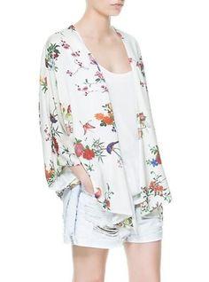 Lightweight Kimono Wrap - Rose Floral Print Over White