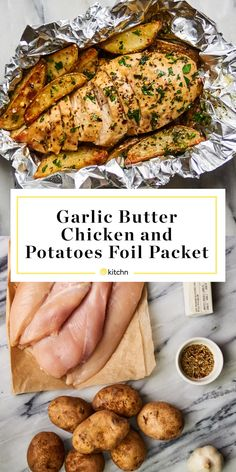 Garlic Butter Chicken and Potatoes Foil Packets Recipe Foil Packet Dinners, Foil Pack Meals, Foil Dinners, Foil Packet Potatoes, Chicken Foil Packets, Foil Baked Chicken, Foil Wrapped Chicken, Garlic Butter Chicken, Garlic Shrimp