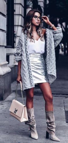 How to wear Metallics for Day - gray chunky knit cardigan, silver metallic leather skirt outfit Cardigans For Women, Coats For Women, Jackets For Women, Clothes For Women, Cardigan Outfits, Cardigan Fashion, Knit Cardigan, Dress Outfits, Holiday Outfits