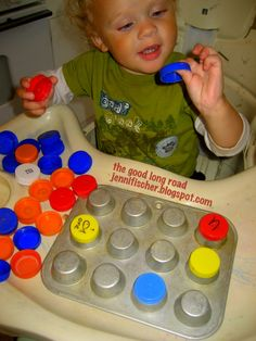 Milk Caps with Letters and a Muffin Tin and Other Simple, Frugal Play Ideas - Embrace Screen Free Week #screenfree #screenfreeweek #ece