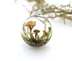 Real Mushroom necklace. Moss Lichen jewelry. Botanical