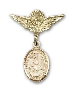 ReligiousObsession's Gold Filled Baby Badge with St. Elizabeth of the Visitation Charm and Angel with Wings Badge Pin ** Read more  at the image link. (This is an Amazon Affiliate link and I receive a commission for the sales)