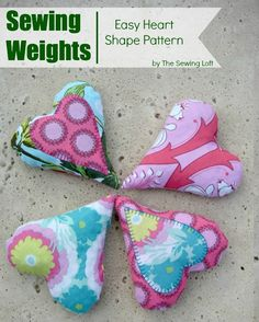 Reduce cutting time and head straight to sewing with these easy to make heart shape sewing weights. Includes free pattern.  The Sewing Loft