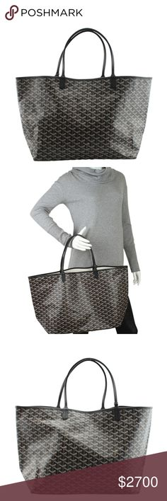 Goyard Grey Monogram St. Louis GM 141352 •Designer: Goyard •Overall Condition: New without tags •Type: Tote •Material: Coated Canvas •Origin: France •Color: Grey •Interior Lining: Canvas •Interior Color: Tan •Hardware: Silver-Tone •Meas (L x W x H): 22x7.5x12 •Handle Drop: 6.5 •Odor: Perfume •Production Code: VAE 020176 •Overall Condition Description: This Goyard St. Louis GM tote bag features: -The bag has a perfume odor and the corners are creased. Ref: 140595-141352-PSIS-SH IPL: Goyard…