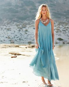 Cotton-Gauze Long Dress  Love this dress!  Great for the beach!