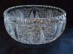 Late 1800's American Brilliant Cut Crystal Large Cut Glass Oblong Bowl,LOW*START #AmericanBrilliant