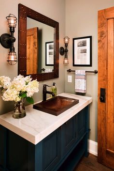 Love the metal sink, frame around the window!! Perfect for a wow in a powder room