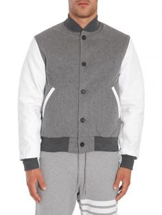 THOM BROWNE Bomber Con Maniche In Pelle. #thombrowne #cloth #coats-jackets