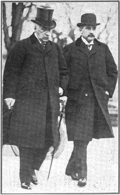 """J.P. Morgan and J.P. """"Jack"""" Morgan, Jr. in 1913  Bankers, philanthropists, millionaires."""