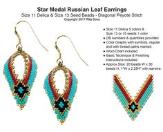 Star Medal Russian Leaf Earrings | Bead-Patterns.com