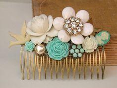 Sea Foam  White Wedding Hair Comb Floral Hair by vintagebynina, $89.00