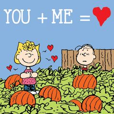 YOU + ME = - Peanuts ~ Sally Brown and Linus Van Pelt in the pumpkin patch for Halloween waiting for The Great Pumpkin Snoopy Love, Snoopy And Woodstock, Peanuts Cartoon, Peanuts Snoopy, Snoopy Halloween, Happy Halloween, Sally Brown, Snoopy Quotes, Peanuts Quotes