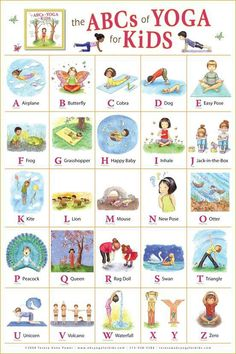 ABC yoga for kids.this would be kind of cute as a poster in my classroom. We actually do yoga on our brain breaks sometimes! Kids Yoga Poses, Yoga For Kids, Exercise For Kids, Children Exercise, Abc For Kids, Kids Fun, Kids Workout, Help Kids, Learning Activities