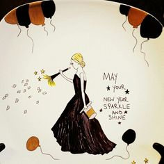 """Personalized ceramic plates """"happy new year plate"""" Can personalize plates, mugs, wine glasses, bowls, ornaments etc! Check out my fb page michelle's Personalized creations or my instagram michellespersonalizedcreations With more of my work! Plates are $27.99 free shipping anywhere in us! ☺ Personalized Plates, Fb Page, My Fb, Ceramic Plates, Happy New Year, Bowls, Wine, Free Shipping, Ornaments"""