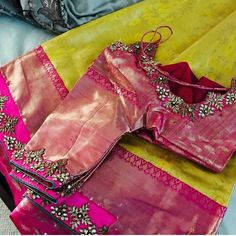 #sarees #sareestyles #sareewedding #saree Wedding Saree Blouse Designs, Pattu Saree Blouse Designs, Blouse Designs Silk, Designer Blouse Patterns, Kurta Designs, Maggam Work Designs, Simple Blouse Designs, Work Blouse, Hindus