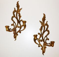 Vintage Pair of Gold Wall Sconces Hollywood by JudysJunktion, $40.00