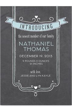 Chalkboard Blue Introducing Birth Announcement - purple instead of blue? and a picture on the opposite side??