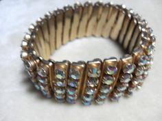 Rhinestone expandable bracelet  vintage gold by GingersLittleGems