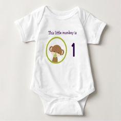 #cute #baby #bodysuits - #First Birthday Baby Safari Monkey with Pacifier Baby Bodysuit