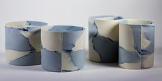 """Malin Grumstedt: Craft Centre - """"Cobalt"""", rolled cylinders in stained porcelain"""