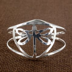 Sadie Green's Silver Dragonfly Cuff Bracelet