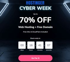 "LAST FEW HOURS LEFT! HOSTINGER CYBER WEEK SPECIAL Huge Upto 70% SAVINGS ON WEB HOSTING + Free Domain, Free SSL, CloudFlare CDN, 1-click WordPress Install included. Get an additional 8% discount on all hosting plans using our exclusive discount coupon ""SPECIAL15"""