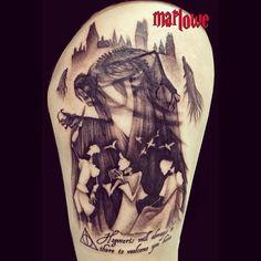 Harry potter tattoo; deathly Hallows; the three brothers; Marlowe Vincent tattoos; Instagram: jesjesones