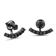 Black CZ - Black Rhodium Swing Earrings are intense! Dramatic stud earrings feature a single black crystal on your ear then swing a curved under your lobe. On trend and very modern. Silver Earrings, Stud Earrings, Cubic Zirconia Earrings, Black Rhodium, Black Crystals, Cufflinks, My Style, Polyvore, Accessories