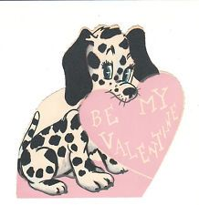 Vintage Valentine Card Dalmatian Puppy Dog and Heart Die Cut for Child