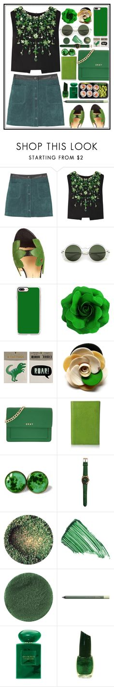 """""""Green Scream"""" by atarituesday ❤ liked on Polyvore featuring MANGO, Miu Miu, Charlotte Olympia, Casetify, Meri Meri, DKNY, Graphic Image, By Terry, Lipstick Queen and Pixi"""