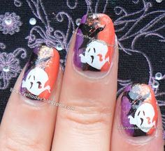 Halloween Nail art Spooky Ghost