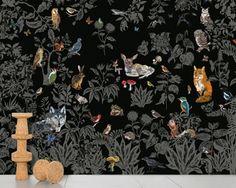 Panoramic non-woven paper wallpaper FORÈT NOIRE by Moustache design Nathalie… Tier Wallpaper, Scenic Wallpaper, Animal Wallpaper, Wall Wallpaper, Beast Wallpaper, Amazing Wallpaper, Moustache Design, Arte Fashion, Decoration Stickers