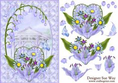 Beautiful Lavender Flowers Card Front and Decoupage