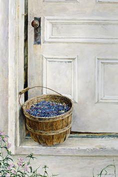 Split Ash Basket is a limited edition offset lithograph of a watercolor by David Armstrong. Blueberry Picking, Blueberry Farm, Watercolor Artists, Watercolor Techniques, Landscape Art, Landscape Paintings, David Armstrong, Country Art, Country Living