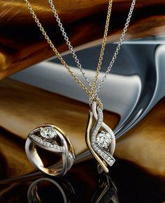 18k yellow and white gold diamond ring, & 18k yellow and white gold diamond pendant