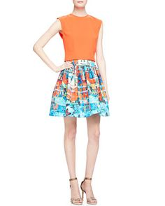 Klynn Crewneck Sleeveless Top & Sotra Printed Pleated Full Skirt by Alice + Olivia at Neiman Marcus.