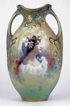 RARE and fabulous Royal Bonn vase ~ It depicts a beautiful young maiden with flowers in her hair