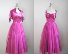 50's purple gown. vintage 1950's pink dress. satin & tulle. prom. small. magenta full dress 50.
